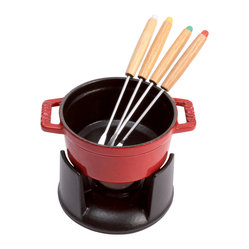 Staub Mini Chocolate Fondue Set With 4 Forks, Cherry
