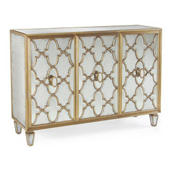 Kathy Kuo Home - Babette Hollywood Regency Silver Leaf Mirrored Gold Lattice Sideboard - Like that perfect shade of Park Avenue blonde, the highlights and lowlights of this gold lattice and silver leaf eglomise mirror clad cabinet are a symphony of champagne and golden hues. Ultra feminine and delightfully traditional, this piece creates a sense of luxury while saving valuable space.