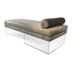 """Levitating Daybed - The Levitating Daybed is a unique and functional stylistic statement. Upholstered in our Recovered Ombre fabric designed exclusively for the Recovered Interior Collection. Offering four striking color combinations in Fuchsia, Blue, Gray or Green. A twist of sophistication comes from the antiqued chain connecting the bolster pillow to the base of the daybed. In deliberate contrast, the crystal-like acrylic base gives a sense of visual lightness. A second neutral option, with an equal stunning result includes the recycled leather and Italian velvet combinations offered in Gray, Green and Black. DIMENSIONS: 70"""" x 32"""" x 19"""" H bolster headrest 6-1/2"""" in diameter - See more at: http://recoveredinterior.com/shop/levitating-daybed.html#sthash.ccStZI8L.dpuf"""