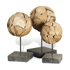 Kathy Kuo Home - Sumatra Modern Teak Wood Sphere Sculptures on Stand- Set of 3 - Textural interest, geometric simplicity, and organic sensuality are all working together in this trio of teak wood spheres.  From rustic lodges to industrial lofts, this threesome create a confident, somewhat masculine effect.