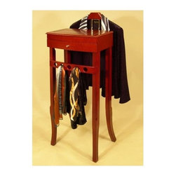 Proman Products - Wellesley Valet Stand in Cherry Finish - Contoured wood hanger, a scarf hanger, jewelry tray, necklace drawer and a mirror. 16 in. L x 14 in. W x 43 in. HThis valet is the only one in the market designed for women.