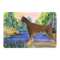 Caroline's Treasures - Doberman Kitchen or Bath Mat 20 x 30 - Kitchen or Bath Comfort Floor Mat This mat is 20 inch by 30 inch. Comfort Mat / Carpet / Rug that is Made and Printed in the USA. A foam cushion is attached to the bottom of the mat for comfort when standing. The mat has been permanently dyed for moderate traffic. Durable and fade resistant. The back of the mat is rubber backed to keep the mat from slipping on a smooth floor. Use pressure and water from garden hose or power washer to clean the mat. Vacuuming only with the hard wood floor setting, as to not pull up the knap of the felt. Avoid soap or cleaner that produces suds when cleaning. It will be difficult to get the suds out of the mat.