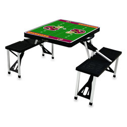 "Picnic Time - Washington Redskins Picnic Table Sport in Black - Picnic Time's portable Picnic Table is a compact fold-out table with bench seats for four that you can take anywhere. The legs and seats fold into the table when collapsed so the item is easy to store and transport. It has a maximum weight capacity of 250 lbs. per seat and 20 lbs. for the table. The seats are molded polypropylene with a basket weave pattern in the same color as the ABS plastic table top. The frame is aluminum alloy for durability. The Picnic Table is ideal for outdoor or indoor use, whenever you need an extra table and seats. It includes a hole in the center of the table to accommodate a standard sized beach umbrella (having a pole that is 1.25"" diameter or less). Pair it up with Picnic Time's multi-colored stripe Umbrella (812-00-996) or solid colored Umbrella 5.5 (822-00) in red, green, blue or black, sold separately.; Decoration: Digital Print"