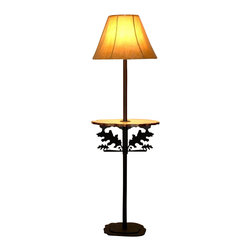 """Wildlife Decor LLC - Rustic Floor Lamp with Pine Shelf, Wrinkle Black, Oak Leaf - Rustic floor lamp comes with pine shelf and 3-way switch rated to 150 watts. The heavy double 3/16"""" thick base with 4 metal feet/glides measures 12"""" wide and 9.5"""" deep to add stability to the lamp. The overall height of the lamp is 59.5"""". The shelf measures 18"""" wide by 11"""" deep and is 30.5"""" from the floor. The shade is 15"""" at the bottom, 5.5"""" at the top and is 11.5"""" high."""