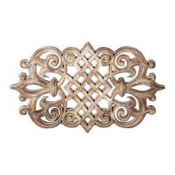 """Factory Direct Wall Decor - Nile Grille Wall Decor - The Persian Grille B is a beautiful scroll designed grille with a metal type texture. The dimensions of the piece are 31""""W x 18""""H x 3"""" in Depth, and approximately weighs 10 lbs."""