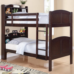 """Coaster - Parker Bookcase Bunk Bed, Cappuccino - This twin over twin bookcase bunk bed features a clean look, with gently curved bookcase headboards and footboards, and smooth side rails. Guard rails will keep your child on the top bunk safe, while an attached ladder makes it easy to get up and down.; Contemporary Style; Finish/Color: Cappuccino; Bunkie Board Not Required; Dimensions: 84.25""""L x 42.75""""W x 73.50""""H"""