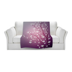 DiaNoche Designs - Throw Blanket Fleece - Monika Strigel Blooming Tree Red Wash - Original Artwork printed to an ultra soft fleece Blanket for a unique look and feel of your living room couch or bedroom space.  DiaNoche Designs uses images from artists all over the world to create Illuminated art, Canvas Art, Sheets, Pillows, Duvets, Blankets and many other items that you can print to.  Every purchase supports an artist!