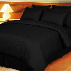 1000TC Egyptian Cotton Sheet Set 4pc Black Stripe - FREE USA SHIPPING