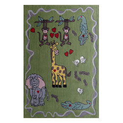 Rug - ~4 ft x 6 ft Green Kids Bedroom Area Rug with Animal Designs, Soft & hand-tufted - ZOOMANIA KIDS COLLECTION