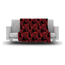 "Kess InHouse - Mydeas ""Sweetheart Damask Black & Red"" Pattern Fleece Blanket (30"" x 40"") - Now you can be warm AND cool, which isn't possible with a snuggie. This completely custom and one-of-a-kind Kess InHouse Fleece Throw Blanket is the perfect accent to your couch! This fleece will add so much flare draped on your sofa or draped on you. Also this fleece actually loves being washed, as it's machine washable with no image fading."