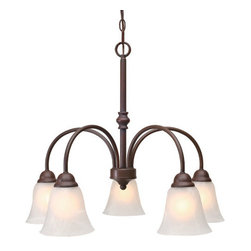 Golden Lighting - Grace Rubbed Bronze Five-Light Chandelier with Marbled Glass - Grace Rubbed Bronze Five-Light Chandelier with Marbled Glass Golden Lighting - 1264-D5 RBZ