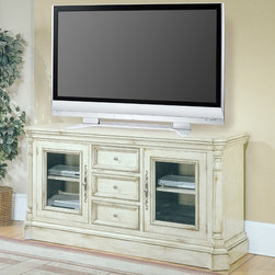 "Parker House - Westminster 68"" TV Stand - Features: -Westminster collection. -Vintage Cream Crackle finish. -Poplar and poplar veneer construction. -English manor style. -Console has optional glass door inserts or wood panels."