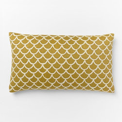 Scalloped Crewel Pillow Cover, Horseradish - Pillows can change the look of an entire space, so they are a must when refreshing a room. I can't stop looking at this gorgeous pattern!