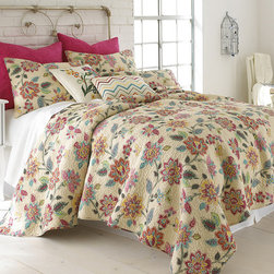 Levtex Home - Beige & Red Floral Quilt Set - Add a burst of flowers to the bedroom with this quilt set. Featuring an elegant yet homey design and comfy cotton construction, it compliments preexisting décor while providing a welcoming place for cozy cuddlers.   Includes quilt and two shams (twin sizes include one sham) Cotton Imported