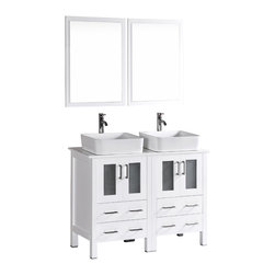 """Bosconi - 48"""" Bosconi AB224RC Double Vanity, White - Explore a classically modern touch with this 48"""" glossy white Bosconi double vanity set. The ceramic, rectangular vessel sinks and perfectly coordinating mirrors lend to a smart and efficient design. Features include two spacious cabinets with soft closing doors, as well as, two large pull out drawers. Plenty of space to store your towels, toiletries and bathroom accessories."""