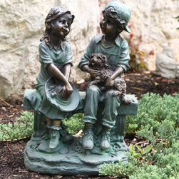 Alpine - Alpine Girl and Boy Sitting on Bench with Puppy Garden Statue - GXT264 - Shop for Statues and Sculptures from Hayneedle.com! Nostalgia abounds in the Alpine Girl and Boy Sitting on Bench with Puppy Garden Statue this detailed statue will bring back memories of childhood and days gone by. This incredibly realistic statue features a boy and girl sitting on bench chatting and relaxing on a summer day. The boy is holding a puppy as well. The statue is durably constructed of weather-resistant resin with an antique bronze finish.About Alpine CorporationAlpine Corporation has offices in Arizona Colorado Florida Iowa and Ohio. With a firm belief in the free enterprise system Alpine Corporation promotes equal treatment for customers employees shareholders suppliers and the community. Alpine Corporation carries a vast array of items including fountains pond and garden accessories and statuary and carries lighting and parts as well. A steadfast goal for Alpine Corporation is to continually exceed their customers' increasing expectations.