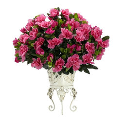"Nearly Natural - Azalea w Metal Planter Silk Plant - Capture the incredible beauty of the Azalea. Perfectly rounded full blooms. Supported by a timeless metal vase. Construction Material: Polyester material, plastic, Iron, Metal. 20 in. W x 18 in. D x 19 in. H ( 2.5 lbs. ). Pot Size: 6 in. W x 9.5 in.HFew flowers can match the beauty of the Azalea. And this incredible bouquet captures that beauty perfectly. With a perfectly rounded ""full"" bloom, it fills any room with color and sunshine. But it doesn't end there: this substantial burst of color is supported by a timeless metal vase that perfectly (and we mean perfectly) accents the flower's beauty. It's also the perfect gift for that flower lover in your life."