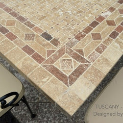 "78""&94"" PATIO MARBLE TABLE ITALIAN MOSAIC MARBLE PATIO GARDEN TOP -TUSCANY - Reference: OT954-20-US + OTB3-20-US"