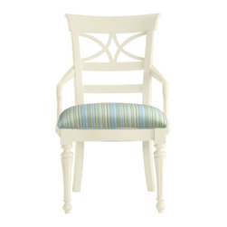 Stanley Furniture - Coastal Living Cottage-Sea Watch Arm Chair - Combine a filigree back and chamfered legs and you've got reason to sit a little longer. Gently bowed arms are comfortable, yet narrow enough to cup in your palm.