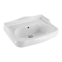 GSI - Classic Style Curved Ceramic Wall Mounted Bathroom Sink - This beautiful curved classic-style wall mounted bathroom sink is perfect for any modern or contemporary bathroom setting. Luxury sink is made out of high quality ceramic with a white finish. Sink includes overflow and the option for one faucet hole or three faucet holes. Made in Italy by GSI.