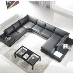 TOSH Furniture - Black Full Leather Sectional Sofa - TOS-LF-2029-FL-A3500 - 100% top grain leather
