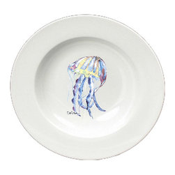 Caroline's Treasures - Jellyfish Round Ceramic White Soup Bowl 8682-SBW-825 - Jellyfish Round Ceramic White Soup Bowl 8682-SBW-825 Heavy Round Ceramic Soup Bisque Gumbo Bowl 8 3/4 inches. LEAD FREE, microwave and dishwasher safe. The bowl has been refired over 1600 degrees and the artwork will not fade or crack. The Artwork for this gift product and merchandise was created by Sylvia Corban copyright and all rights reserved.