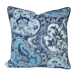 The Pillow Studio - Blue Schumacher Pickfair Paisley Pillow Cover with Navy Blue Piping - I love this paisely by Timiothy Corrigan for Schumacher- it is the perfect balance of masculine and feminine design and the piping grounds it so nicely.