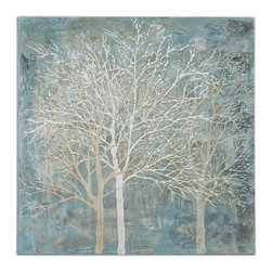 Uttermost - Muted Silhouette Canvas Art - This wintery scene of ghostly trees will float on your wall with its muted colors of grays and blues. It's stretched on canvas so there's no need for a frame.