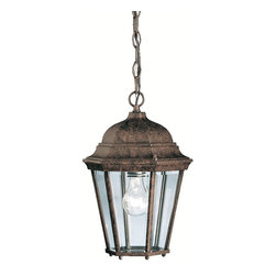 BUILDER - KICHLER 9805TZ Madison Traditional Outdoor Hanging Light - With its timeless colonial profile, the Madison is the perfect line of outdoor fixtures for those looking to embellish classic sophistication. Because it is made from cast aluminum and comes in an extensive amount of different finishes, this Madison 1-light hanging lantern can go with any home decor while being able to withstand the elements. It features a Tannery Bronze finish with clear beveled glass panels. U.L. listed for damp location. For additional chain order KCH-4927-TZ.
