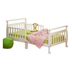 AFG Baby - AFG Baby Anna Toddler Bed in White - The Anna Wooden Toddler Bed has beautifully finished hardwood and an elegant sleigh design. The bed is equipped with two guardrails to facilitate easy access and prevent your child from falling out.