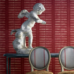 Kathy Kuo Home - Plantation Distressed Louvered Windows Wallpaper - Lacquer Red - Create a trompe l'oeil illusion in your favorite setting with this inventive wallpaper. It mimics the wooden slatted window shutters popular during the Antebellum Era for a refined, gracious effect.