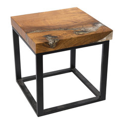 "Petrified Forests - Square Cracked Resin Side Table - Our Cracked Resin Furniture is where art and earth collide. Salvaged teak roots are molded in resin, which is then cracked to emulate quartz. No two pieces look the same, so the picture you see here is just an approximation of what you'll get. (Trust us, you'll love it.) This piece, like all of our pieces, is a completely unique piece of furniture. Square side table that is different, yet never feels out of place in any room.     Height: 18""   Width: 18""   Depth: 18""    Weight: 20 lbs"