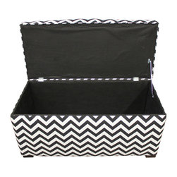 Sole Designs - Angela Zigzag Storage Trunk - This black and white storage trunk will add a distinctive air to any bedroom. The zig-zag pattern on the upholstery gives it an exciting look that could become the start of a new theme for a room,and the foam filling means it also makes a good seat.