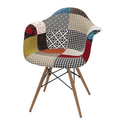 IMAX - Nadine Retro Accent Chair - Greater than the sum of its parts: Patchwork and polypropylene come together for a retro accent chair with modern flair.