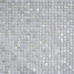 "White Mother of Pearl 3/8"" x 3/8"" Micromosaic Squares  Tile - Mother of pearl tiles add new and unique elegance to your bathroom, backsplash, headboard, and more. Our Mother of Pearl tiles are handmade from genuine natural freshwater pearls. Although Mother of Pearl tiles are naturally thin, they are very strong and durable as well as easy to install in kitchens, bathrooms, and pools."