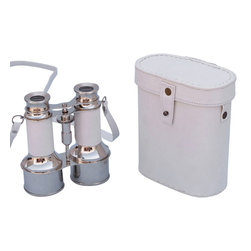 Handcrafted Nautical Decor - Solid Brass Binoculars w/ White Leather Belt and Leather Case 6'' - These beautiful Hampton Nautical Commander's Chrome/White Leather Binoculars with Leather Case 6'' will make anyone feel like a true navigator. With a uniquely designed body structure and classic eye pieces, these binoculars have in-line prisms for improved field of view and have precision ground glass 1.75 inch (44 mm) diameter objective lenses. Focusing is accomplished using a knurled focusing knob on top of the binoculars. The binoculars have a leather strap and come with a handmade leather case.--------    Chrome wrapped in white leather nautical binoculars--    --    Functional and decorative nautical decor--    20x magnification--    Easy focusing with knurled knob--    Leather strap and handmade leather case included for safe keeping--    Custom engraving/photo etching available; logos, pictures, and slogans can easily be put on any item. Typical custom order minimum for engraving is 100+ pieces. Minimum lead time to produce and engrave is 4+ weeks.--