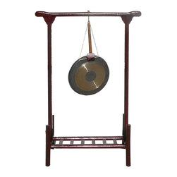 "Golden Lotus - Chinese Rustic Red Wood Frame Stand Gong Display - Dimensions:   w34""x  d14X""  h49"""