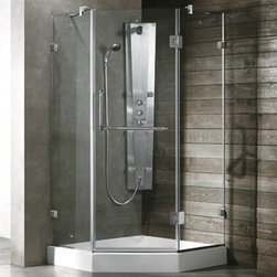 "Vigo Industries - Vigo Industries Frameless Neo-Angle Shower Enclosure - 36"" x 36"" - Available optional Vigo Industries acrylic shower tray. Add a simple shower head or an advanced Vigo Shower Column and create the bathroom of your dreams!. Features 3/8"" tempered glass ANSI Z97.1 certified available in Clear and Frosted finishes Chrome, Brushed Nickel or Polished Brass hardware options Reversible left or right swing door Hardware made of solid cast brass with all stainless moving parts Single water deflector redirects water toward the inside of the shower Side clear seals keep the door watertight Full-length magnetic catch allowing the door adjustment and waterproof protection Self closing hinge allows smooth door closing Sealed hinges providing functionality and leak-proof protection Fixed arm support ensures wall anchoring and reinforces wall stability Usually ships from factory in 5-10 business days Limited Lifetime Warranty Installation Instructions*Add approximately 5 3/8"" height when installed with optional shower base."