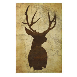 One Red Buffalo - Deer Silhouette I, 27 X 40 - The perfect wall decor for your cabin retreat, lake house or any room that displays your passion for the mountains. A bold, graphic silhouette of mountain wildlife against a subtle vintage map background.