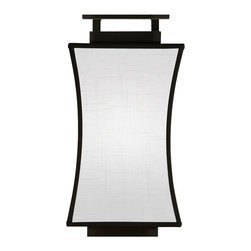 Fine Art Lamps - Black + White Story Sconce, 232850-6ST - Elegantly understated with a Far Eastern flourish, this wall sconce features a satin lacquer base and a contoured shade crafted from textured white linen, assuring a soft, diffused light. Available in either a white or black finish.