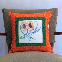 For the home - This one-of-a-kind, hand-sewn Delaware state-bird pillow combines a vintage, beautifully hand-embroidered quilt block and contemporary fabric, perfect for cottage chic, cabin, or farmhouse decor. This keepsake pillow is 14 inches square (35.5 cm), has an envelope back and is made of cotton. The pillow form (containing hypo-allergenic polyfill) is included.