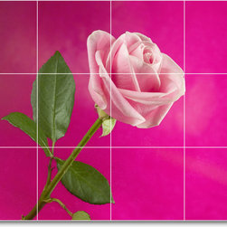 Picture-Tiles, LLC - Flower Picture Mural Tile F040 - * MURAL SIZE: 24x32 inch tile mural using (12) 8x8 ceramic tiles-satin finish.