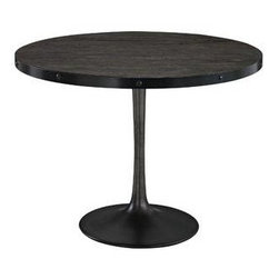 """LexMod - Drive Wood Top Dining Table in Black - Drive Wood Top Dining Table in Black - Deliberately implement down-to-earth aesthetics with the Drive industrial modern dining table. Fashioned on a cast iron pedestal base, the round pine top is braced in a rim of iron to connote progress amidst rustic conditions. In contrast to the standard four legged tables, the single stand variety has been gaining popularity over the past 60 years. Now with the resurgence of industrial modernism, the warehouse of yesteryear comes remodeled into its present stance as an artform. Set Includes: One - Drive Wood Top Dining Table Industrial modern dining table, Pine wood top (stained but not sealed) with iron rim, Cast iron pedestal base Overall Product Dimensions: 39.5""""L x 39.5""""W x 29.5""""H Thickness of Table Top: 1.5""""H Width of Legs: 19.5""""W - Mid Century Modern Furniture."""
