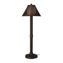 Patio Living Concepts - Patio Living Concepts Shangri-La 60 Inch Floor Lamp w/ 3 Inch Bronze Tube Body & - 60 Inch Floor Lamp w/ 3 Inch Bronze Tube Body & Tight Weave - Round Wicker - Walnut Shade belongs to Shangri-La Collection by Patio Living Concepts All-weather full woven pattern, using round PVC wicker highlights this shade, which completes the polycarbonate light globe in this elegant outdoor lamp. Features weatherproof all resin construction with heavy weighted base, two level dimming switch and 12 ft. weatherproof cord and plug. Waterproof light bulb enclosure allows the use of a standard 100 watt light bulb. model # 12207 Lamp (1)