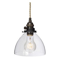 "Hammers & Heels - Hand Blown 6"" Clear Glass Ship Rope Cord Pendant Light - Handblown in the USA, this stunning clear glass shade pendant is the most versatile in our collections. From home kitchen to restaurant dining room this fixture is stately yet sophisticated enough to stand alone."