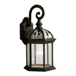 Kichler 1-Light Outdoor Fixture - Black Exterior - One Light Outdoor Fixture. With its timeless profile, this 1-light wall lantern is perfect for those looking to embellish classic sophistication outdoors. Because it is made from cast aluminum and comes in this beautiful black finish, this wall lantern can go with any home decor while being able to withstand the elements. It features clear beveled glass panels, uses a 100-watt bulb, measures 8 wide by 15 high, and is UL listed for wet location.