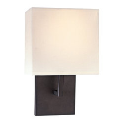 Kovacs - Kovacs GK P470 1 Light Wall Sconce from the Decorative Sconces Collection - Kovacs P470 Single Light Wall Sconce from the Decorative Sconces CollectionFeaturing a an ultra modern design consisting of purely right angles, this stylish single light wall sconce will make an excellent addition to any room. Honey Gold hardware is paired with a white fabric shade for a beautiful fixture that will fit perfectly into any decor.