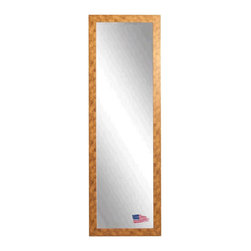 Rayne Mirrors - American Made Gold Stone 19 x 58 Slender Body Mirror - This contemporary gold stone tall mirror features marbled copper accents and a sleek flat design, presenting a fresh modern feel to this classic piece.  Each Rayne mirror is hand crafted and made to order with American products.  All hardware included for vertical or horizontal hanging, or perfect to lean against a wall.