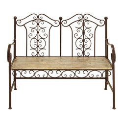 Benzara - Outdoor Park Bench With Copper Brown Wood - An attractive piece of furniture that becomes the center piece to any outdoor decor. And as comfortable as it is attractive, the seat of the bench is made with a rich copper brown wood, treated for extra soft comfort. Keep it on the front porch or second floor balcony. Or try keeping one at the end of the backyard right next to your favorite tree.