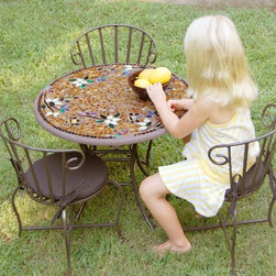Iron Mosaic Children's Set - Inspired by nature, these original mosaic tables are truly works of art. Table tops are fashioned from as many as 2,000 hand-cut tiles of stained glass and tumbled marble they are molded with a unique process that leaves the top and sides completely smooth. Though imitations abound - none can compare to the vibrant colors or hand fashioned perfection of these artistic mosaic creations.